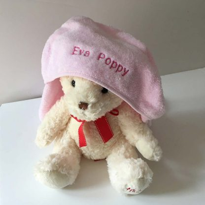 Teddy Bear in Smithy&Co Personalised Name Baby Towel