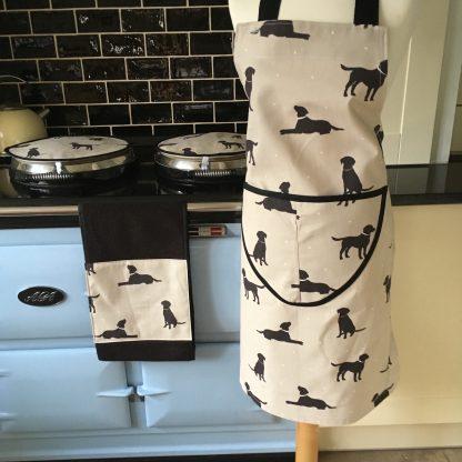 Labrador dog design apron, Aga covers & roller towel | Smithy & Co