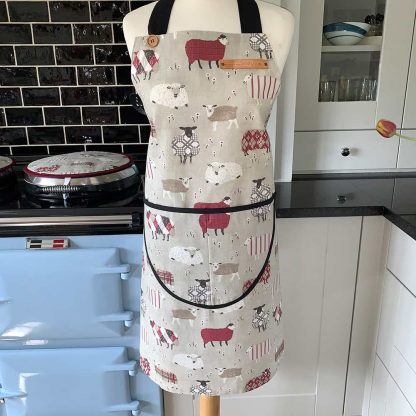 Baa Baa Red Sheep Apron on mannequin