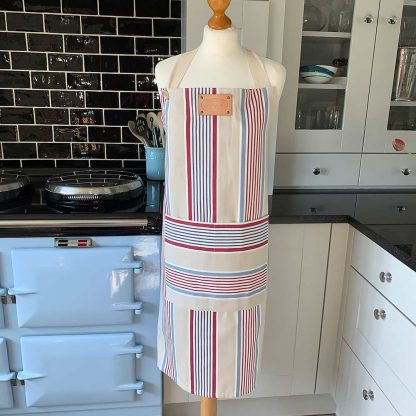 Beige Stripe Apron on mannequin