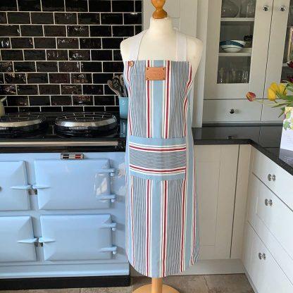 Blue Stripe Apron on mannequin