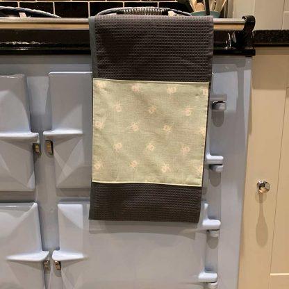 Bumblebee Roller Towel Duck Egg Blue in kitchen