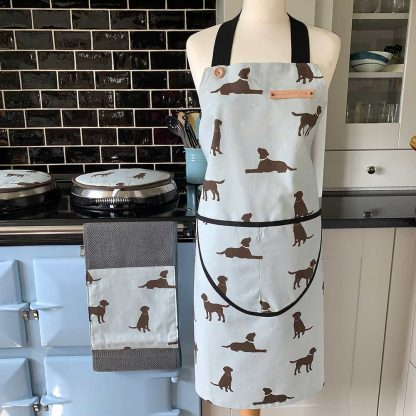 Labrador Duck Egg Apron on mannequin