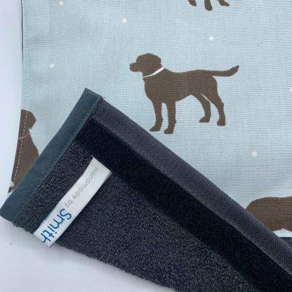 Labrador Roller Towel Duck Egg Blue detail