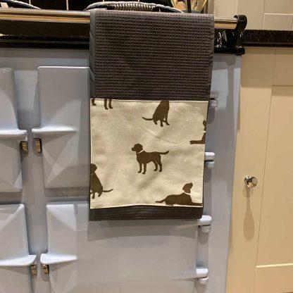 Labrador Roller Towel Duck Egg Blue in kitchen