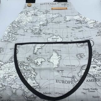 World Map Charcoal Apron flat