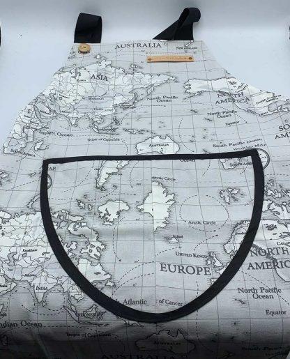 World Map Charcoal Apron flat