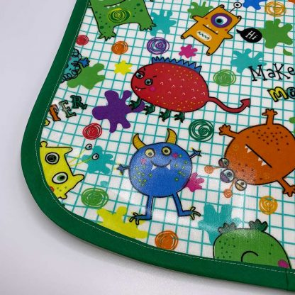 Monsters Children's Apron detail - green trim