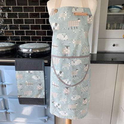 Baa Baa Blue Sheep Duck Egg Apron on mannequin