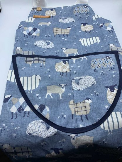 Baa Baa Blue Sheep Navy Apron flat