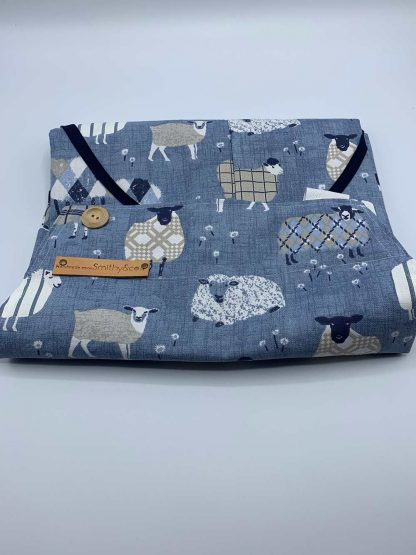 Baa Baa Blue Sheep Navy Apron folded