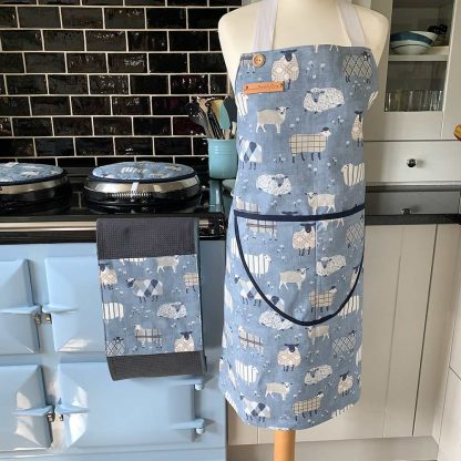 Baa Baa Blue Sheep Navy Apron on mannequin