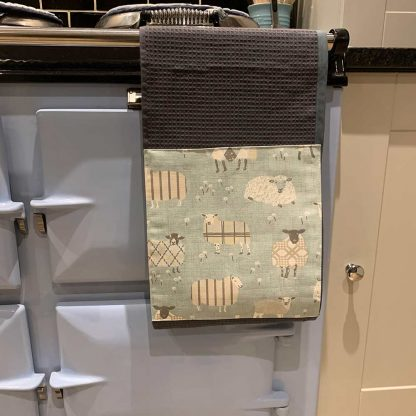 Baa Baa Blue Sheep Roller Towel Duck Egg in kitchen