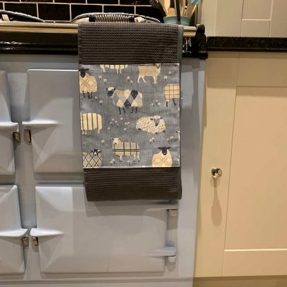 Baa Baa Blue Sheep Roller Towel Navy in kitchen