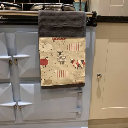 Baa Baa Sheep Roller Towel Red in kitchen