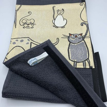 Cat and Mouse Beige Roller Towel detail
