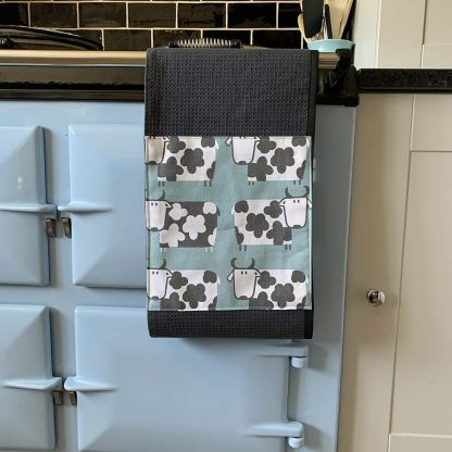 Cow Duck Egg Roller Towel on kitchen Aga