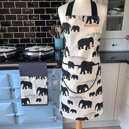 Elephant Black Apron on mannequin