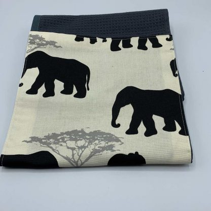 Elephant Roller Towel Black