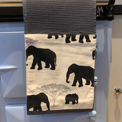 Elephant Roller Towel Black in kitchen