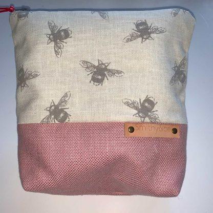 Linen Bee Pink Base Make Up Bag