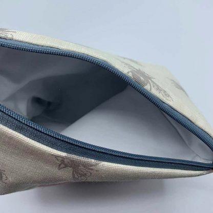 Linen Bee Pink Base Make Up Bag inside
