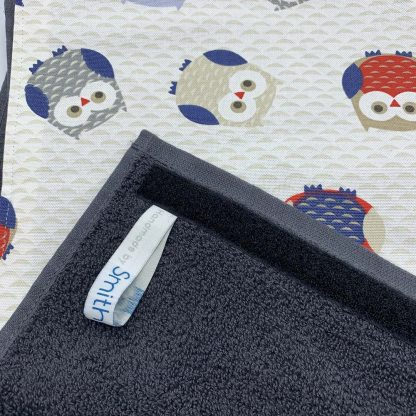 Owls Red and Blue Roller Towel detail