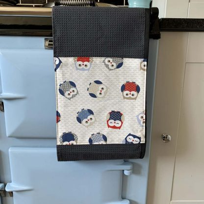 Owls Red and Blue Roller Towel on kitchen Aga
