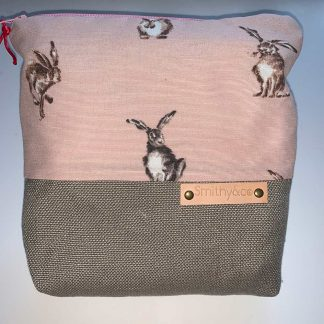 Pink Hares Beige Base Make Up Bag