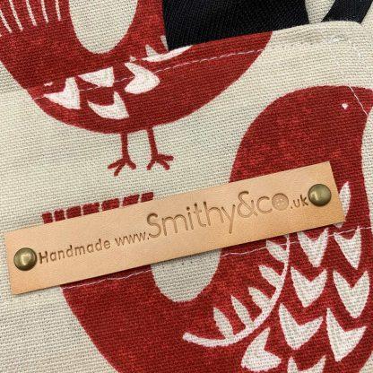 Scandi Red Bird Apron detail