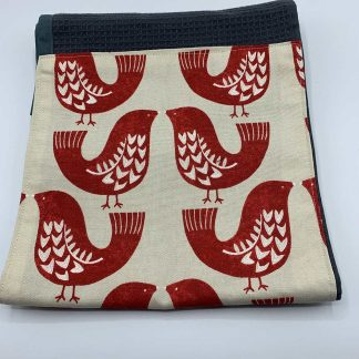 Scandi Red Bird Roller Towel