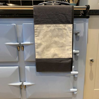 Silver Hare Roller Towel on oven hand rail