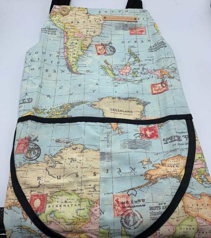World Map Duck Egg Apron flat
