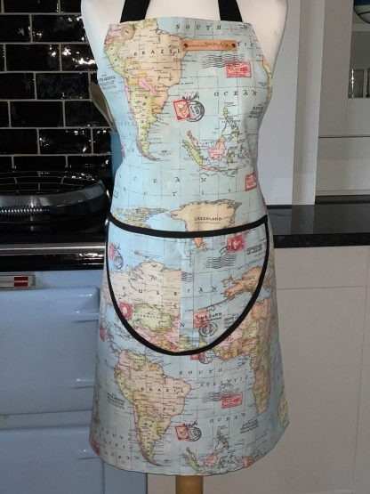 World Map Duck Egg Apron on mannequin